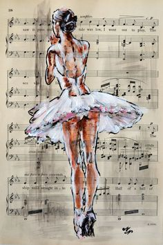 Training -Vintage Music Page - Full-frontal image, unframed - - Ballerina Kunst, Ballerina Painting, Ballerina Sketch, Ballet Drawings, Dancing Drawings, Ballet Art, Ballet Dancers, Ballet Wallpaper, Newspaper Art