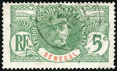 "Senegal  1906 Scott 60 5c green  ""General Louis Faidherbe"""