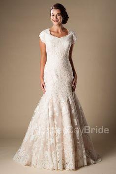 'Dorian' modest wedding gown, modest bride. modest lace gown, modest wedding…
