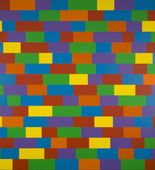 """Sol LeWitt, """"Wall Drawing #1144, Broken Bands of Color in Four Directions"""", 2004, Synthetic polymer paint, 8' x 37'. On view at MOMA"""