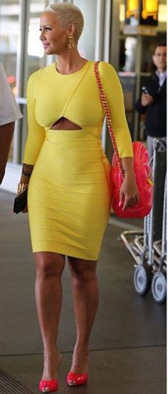 House Of CB 'Carelle' Yellow Front Cut Out Long Sleeve Bandage Dress, Moschino Hot Pink Inflatable PVC Shoulder Bag, and Giuseppe Zanotti Neon Pink Patent Leather & Denim Mules Daily Fashion, Fashion News, China Fashion, Fashion Fashion, Amber Rose Style, Long Sleeve Bandage Dress, Lady, Beautiful Black Women, Yellow Dress