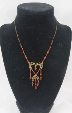 Art Deco Style Brass Peanut Chain Necklace with Delicate Filigree and Red Glass Beads by Framarines on Etsy