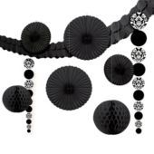 Black Damask Party Decorating Kit - Party City- like the hanging circle decorations, possible diy hack!!