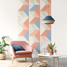 How To Hang Wallpaper, Retro Wallpaper, Vinyl Wallpaper, How To Make Curtains, Made To Measure Curtains, Terrazzo, Terracotta, Orange Pastel, Animal Print Wallpaper