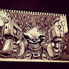 Inktober Day 21 - Rocket Raccoon by DerekLaufman.