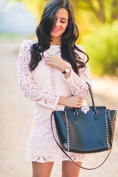 Pink Dress Choies vestido rosa bolso Valentino Rockstud bag reloj Daniel Wellington watch Crimenes de la Moda blog Maria Jesus Garnica