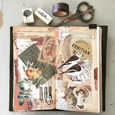 A spread using only papers from my dear penpals. #artjournaling #collageart #midori #travelersnotebook #mixedmedia #penpals #stationery #paperlover #papercraft #stationerylover #stationeryaddict #moments #beautifullife #metime #crafting #creativity #inspiration #simplebeauty #livethelittlethings #vintagepaper #vintageephemera #botanicals #birds #mushroom #washitape #stamps #stamping #momentsofmine