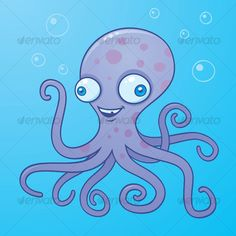 Buy Silly Octopus Cartoon Character by fizzgig on GraphicRiver. Vector cartoon illustration of a happy octopus in the water with bubbles. Cartoon Monkey, Cute Cartoon, Cartoon Images, Free Vector Images, Vector Free, Vector Stock, Fruit Icons, Book Projects, Animales