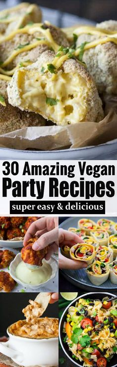 Are you looking for vegan party food? Then this roundup of 30 vegan party recipes is perfect for you. It includes vegan snacks, vegan finger food, vegan pasta salads, and so much more! #veganpartyfood #vegan #veganrecipes #vegansnacks