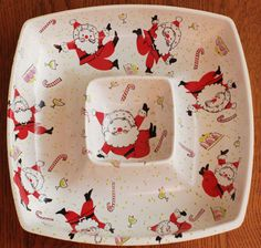 Vintage Christmas Jolly Santa Chip and Dip Bowl by RSWVintage, $12.99