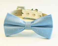 Sky Blue Dog Bow Tie -Chic and Elegant Bow tie with high quality leather collar-Something blue, blue wedding accessory - LA Dog Store  - 1