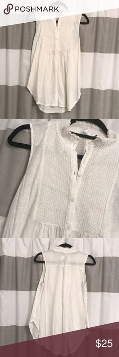 Anthropologie tunic White tunic size small. Henley button up. Longer in back Anthropologie Tops Tunics