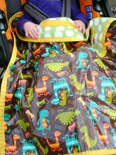 Rain Baby Gear Water-Resistant Dinosaur Stroller Blankets