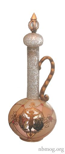 Royal Flemish Covered Ewer, c. 1890 - The New Bedford Museum of Glass