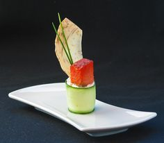 House Smoked Sockeye Salmon over Chevre Tower with Cucumber Wrap and Taro Root Crisp