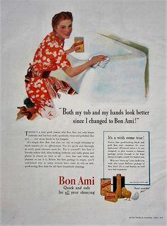 1941 Bon Ami Cleaner Vintage Advertisement Bathroom Wall Art Powder Room Decor Original Magazine Print Ad Home Decor Ephemera by RelicEclectic on Etsy