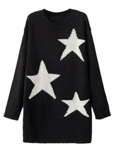 Shop Black Star Pattern Longline Knit Sweater With Long Sleeve from choies.com .Free shipping Worldwide.$41.99