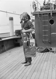 1935 - Fireboat crew member with breathing apparatus  via Boston Public Library on Flickr.