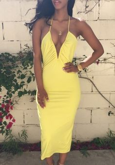Yellow Plain Condole Belt Cross Back Plunging Neckline Maxi Dress