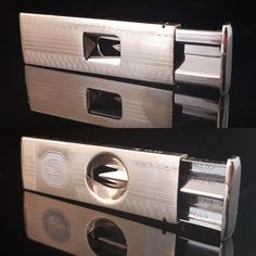 Cigar cutter from 1950s. This V cut cigar cutter is pocket size and has a stainless steel guillotine cutter inside. The cigar cuter has an opening button and a leather case.  A rare and unique item. In very good vintage condition. Please see the pictures for more details.  Measurements: Length 52 mm (2.05) Width 18 mm (0.71)   ******************************************************************************  Please do not hesitate to contact for any further details.  Also please check the shop…