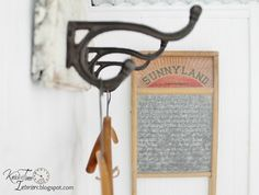Hooks, wooden hangers & vintage washboard - From Knick of Time Laundry Room Pantry Laundry Room, Laundry Room Art, Laundry Decor, Laundry Room Remodel, Farmhouse Laundry Room, Farmhouse Decor, Farmhouse Style, Washboard Decor, Burlap Kitchen