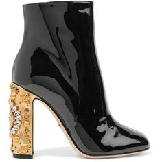 Dolce & Gabbana Embellished patent-leather ankle boots ($1,435) ❤ liked on Polyvore featuring shoes, boots, ankle booties, black, black ankle booties, short boots, black bootie boots, high heel booties and high heel boots
