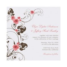 Pink Roses Fleur Elegant Wedding Invitation