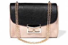 Różowo-czarna torebka na łańcuszku
