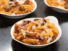 Baked Pasta with Tomatoes and Eggplant by Ina Garten Eggplant Pasta, Eggplant Recipes, Baked Eggplant, Pasta Recipes, Cooking Recipes, Vegetarian Recipes, Wing Recipes, Vegan Meals, Sauce Recipes