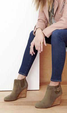 Suede wedge bootie + ankle jeans