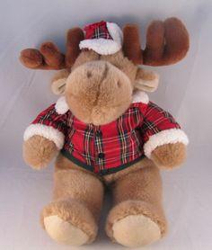 Commonwealth Brown Plush Stuffed Animal Moose Red Plaid Jacket Hat Soft | eBay