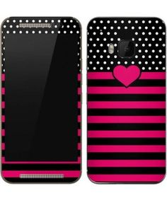 Polka Dots and Stripes Heart in Pink One M9 Skin