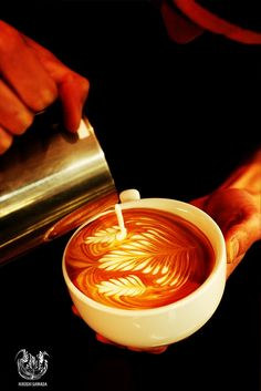 Pouring coffee latte art
