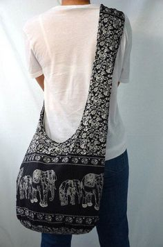 Absolute Black Hippie Elephant Printed Cotton Crossbody Bag Sling Bag Hobo Boho Shoulder Bag Handbags Messenger Bag Purse – Purses And Handbags Boho Black Hippy, Elephant Print, Elephant Stuff, Funny Elephant, Boho Bags, Crossbody Bag, Tote Bag, Hippie Bohemian, Hippie Life