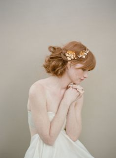 Bridal rose hairclip, headpiece, gold - Golden Rose and blossom branch headpiece - Style 355 on Etsy, ¥29,787