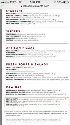 Ditka's menu - gf options