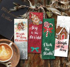 Christmas Song Printable Bookmarks, Gingerbread Bookmark, Stocking Stuffers Holiday Printable, Joy t Christmas Cards, Xmas, Christmas Gingerbread House, Halloween Mug, Christmas Drawing, Gifts For Readers, Jingle All The Way, Joy To The World, Handmade Christmas