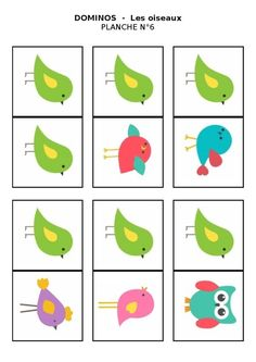 Planche n°6 - Le domino des oiseaux Bird Theme, Games, Prints, Birds, Game, Bird, Playing Games, Gaming, Toys