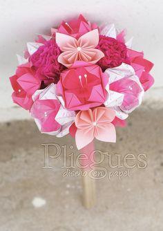 Ramo de Origami Colores Rosados www.plieguesdiseno.cl