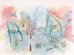 Original watercolor Crescent Moon Art OOAK by EnchantedRoseProduct