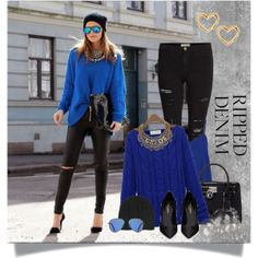 Blue & Black, created by sumarie on Polyvore