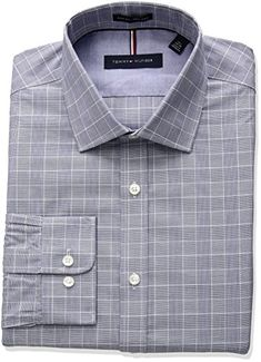 Tommy Hilfiger Mens Non Iron Slim Fit Suiting Plaid Spread Collar Dress Shirt  #shirts #dress #mensshirt #clothing #fashion #formalshirt