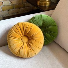 Just listed in Etsy! #avocadogreen and #harvestgold #tuftedpillows. Sold separately. ✨ Green Pillows, Throw Pillows, Vintage Home Decor, Decorative Pillows, Harvest, Mid Century, Velvet, Gold, Inspiration