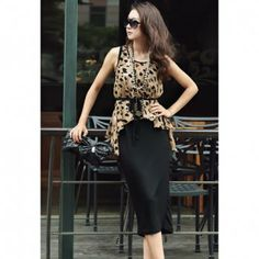 Stylish Style Scoop Neck Leopard Sleeveless Women's Spring Dress With Blouse, AS THE PICTURE, ONE SIZE in Casual Dresses | DressLily.com