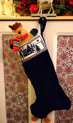 Beautiful cross stitch Christmas stocking Would love to stitch/create this Stocking