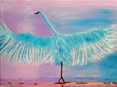 SWAN in Flight on CANVAS Acrylic Painting Reproduction 12 X 16 Animal Art Pinks Blues Bird Wildlife Wings Art Water Lake Freedom Fly Print by ABrushOfLife on Etsy