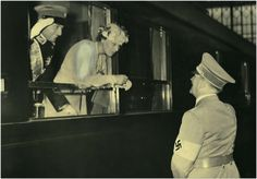 Hitler saying goodbye to Prince Paul and Princess Olga in 1938. Paul is desperately trying to get Hitler's attention, but his eyes fall only on Olga (of whom he was quite fond). 1938.