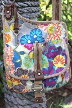 Fossil Multi Color Canvas Floral Print & Leather Cross Body Handbag #FOSSIL #CrossBodyShoulderBag