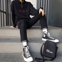 d09637912272 Pitch Black by Shade. Cdg Converse BlackBlack Outfit ...