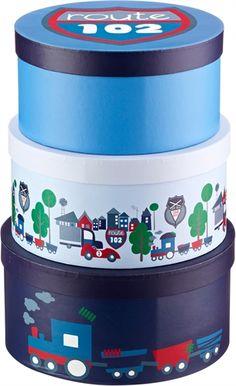 Kids Concept, Turbo, Papæsker, Runde, 3-pak, Blå Opbevarings-kasser & kurve Opbevaring Børneværelser på nettet hos Lekmer.dk